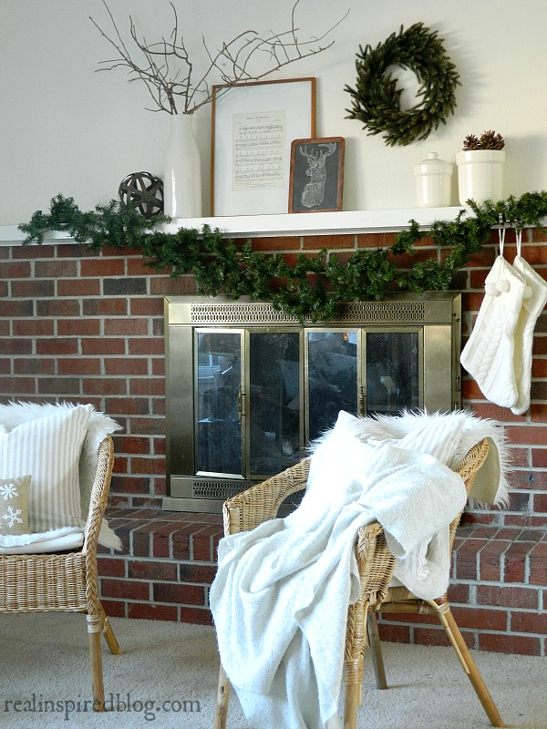 Rustic Green and Neutral Christmas Mantel Home Tour 2015