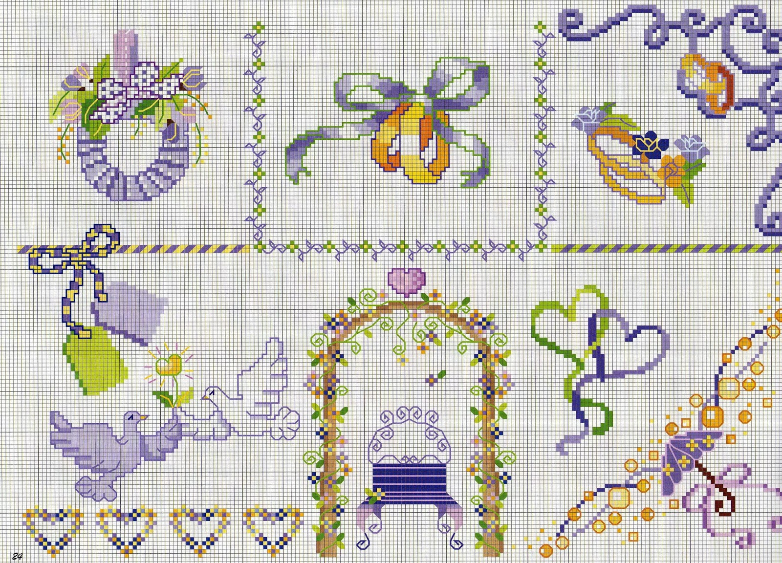 Схемы вышивки к свадебной открытки, картинки