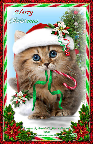 Christmas Kitty art by/copyrighted to Artsieladie