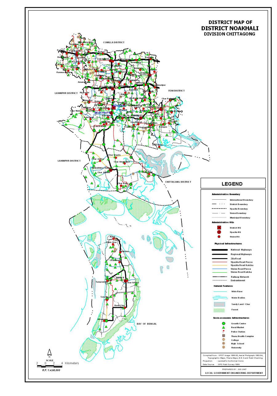 Noakhali District Map Bangladesh