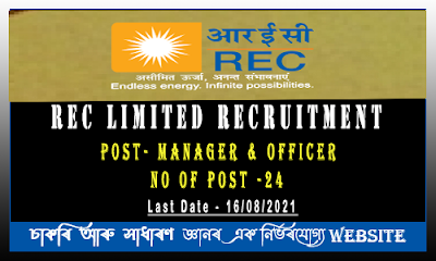 REC Limited Recruitment 2021 - Officer Positions(24 Vacancy)