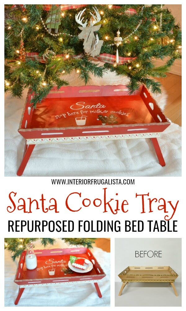 Folding Breakfast Table Santa Milk & Cookie Tray
