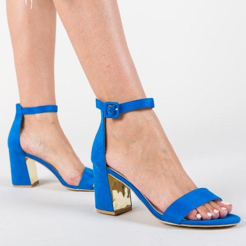 Sandale albastre cu toc gros mediu ieftine