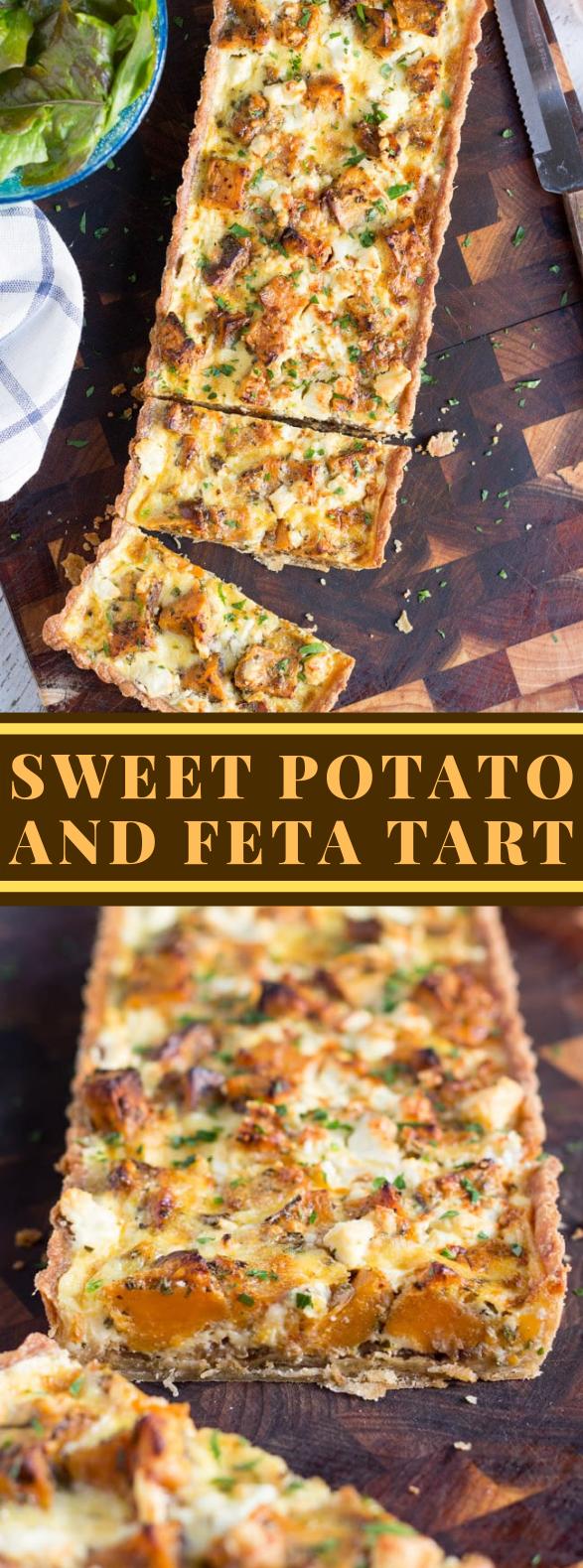 A SAVOURY SWEET POTATO, FETA AND CARAMELISED ONION TART #vegetarian #dinner