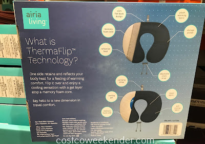 Costco 1211358 - Airia Living ThermaFlip 2 Piece Travel Pillow Set features neck pillow and eye mask