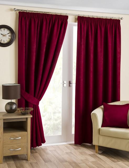 Yorkshire Linen Belvedere cranberry pencil pleat curtains