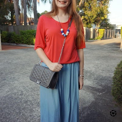 awayfromtheblue Instagram | red round neck tee with chambray noise may maxi skirt RM love bag