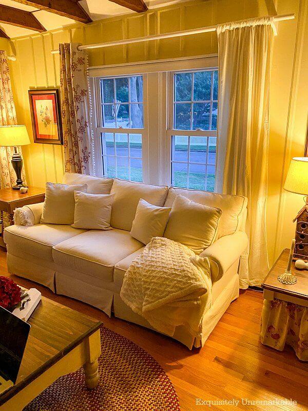 Ivory Velvet Panels In the living room