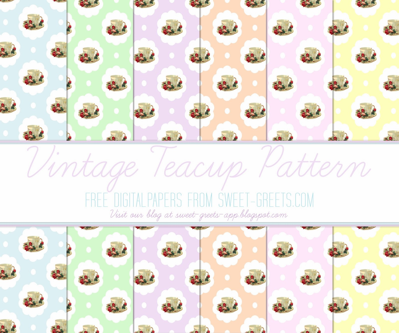 Free Digital Paper: Vintage Teacups