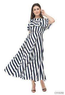 Women's Georgette Cold Shoulder Maxi Dresses