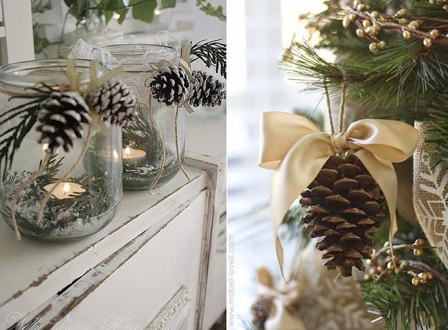 Decoração de natal com pinhas.