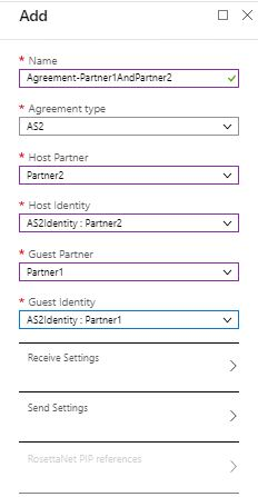 Add agreement between two partners in Integration Account