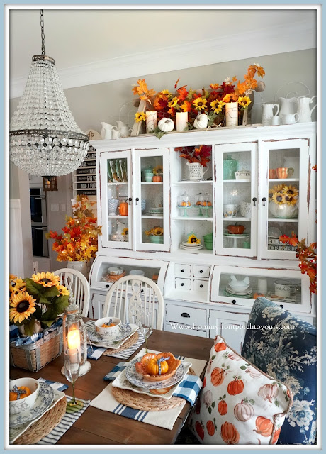 Farmhouse Cottage Style Fall Dining Room-Bread Makers Cabinet-From My Front Porch To Yours