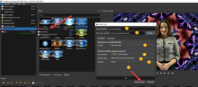 esportazione del video con openshot