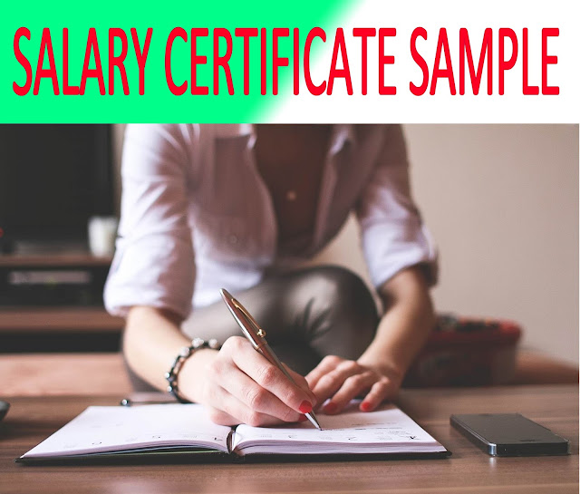 Salary Certificate Sample for Abroad Studies/Travel