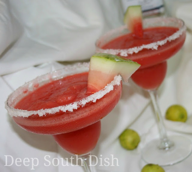 Frozen chunks of watermelon stand in for ice cubes for this delightful frozen watermelon margarita. For a strawberry margarita, swap out the watermelon for frozen strawberries.
