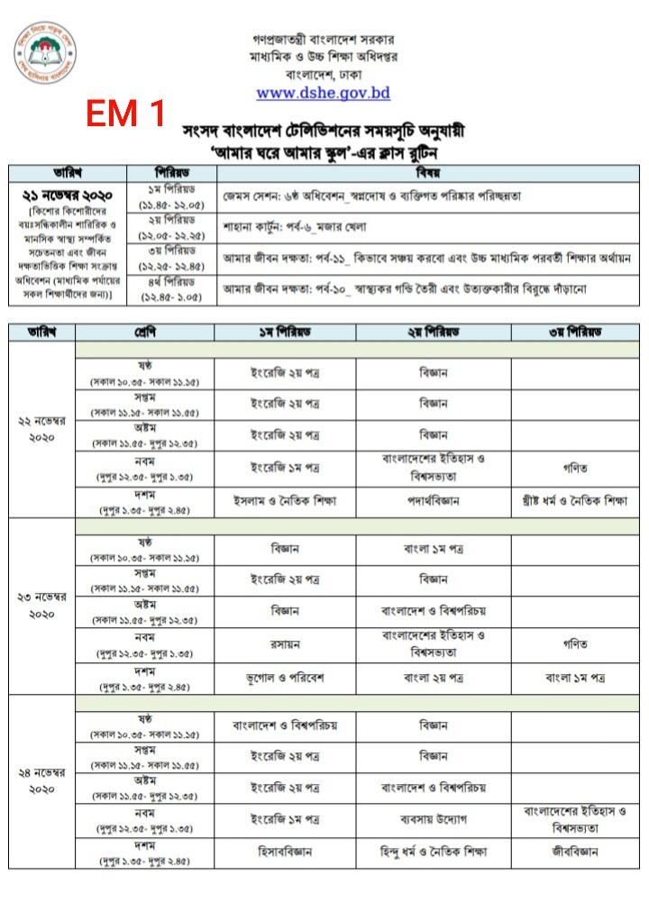 'আমার ঘরে আমার স্কুল' ক্লাস রুটিন ২২- ২৪ নভেম্বর