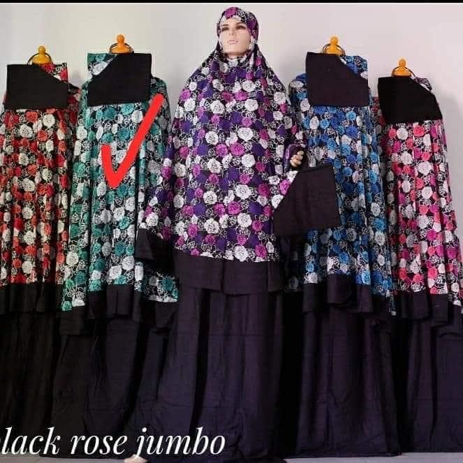 Jual Mukenah Black Rose Jumbo Bahan Katun Lembut