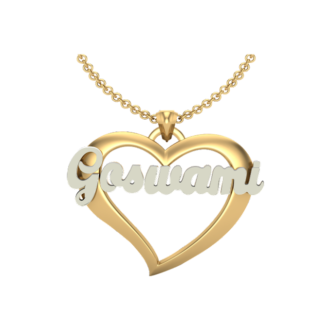 Bold Heart Styled Personalized Name Necklace