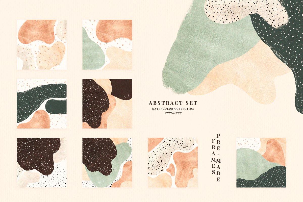 Textures & Patterns: Naive. Watercolor Abstract Set (PNG)
