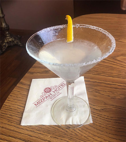 Finally, found a consolation lemon drop martini at Mizpah Hotel in Tonapah, NV (Source: Palmia Observatory)