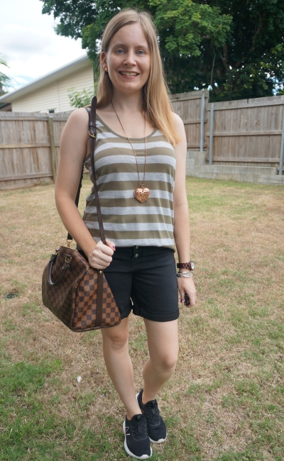 olive and grey striped tank with black bermuda denim shorts, louis Vuitton speedy bandouliere | awayfromtheblue