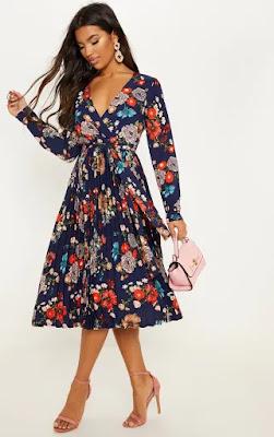 Navy Floral long sleeve midi dress