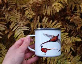 Pheasants Enamel mug by Alice Draws The Line
