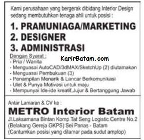 Lowongan Kerja PT. Metro Interior Batam