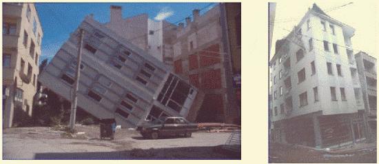 فشل هيكل البناء بسبب تسييل التربة وتسييلها في إزميت ، تركيا