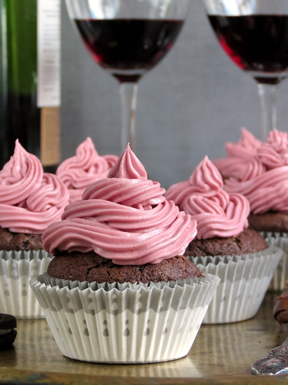 Oreo Red Wine Nutella Cupcakes