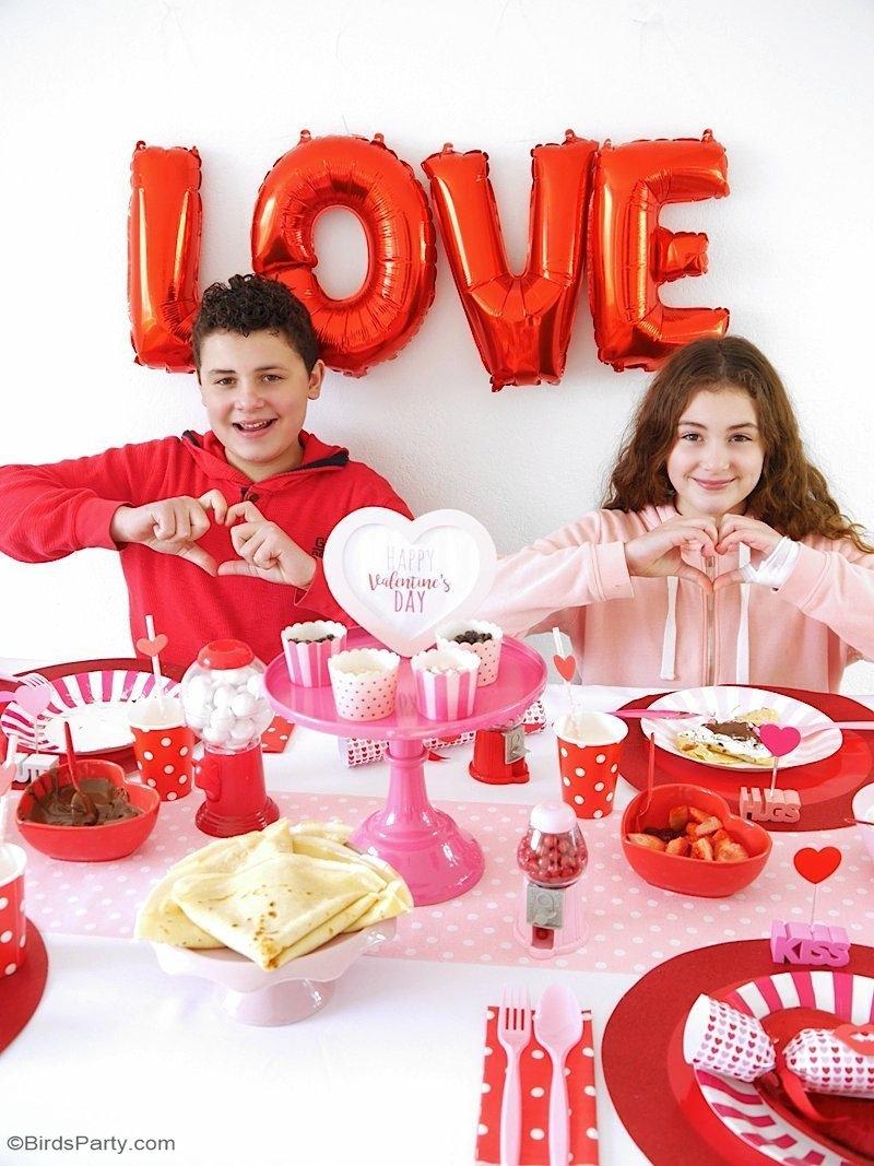 Déco de Table Crêpe Party Pour La Saint-Valentin + FREEBIES