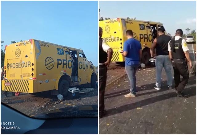 Bandidos explodem carro-forte e roubam dinheiro na MA-206