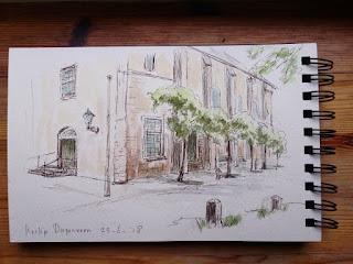 Diepenveen, kerk, aquarel, pentekening, plein air, Overijssel