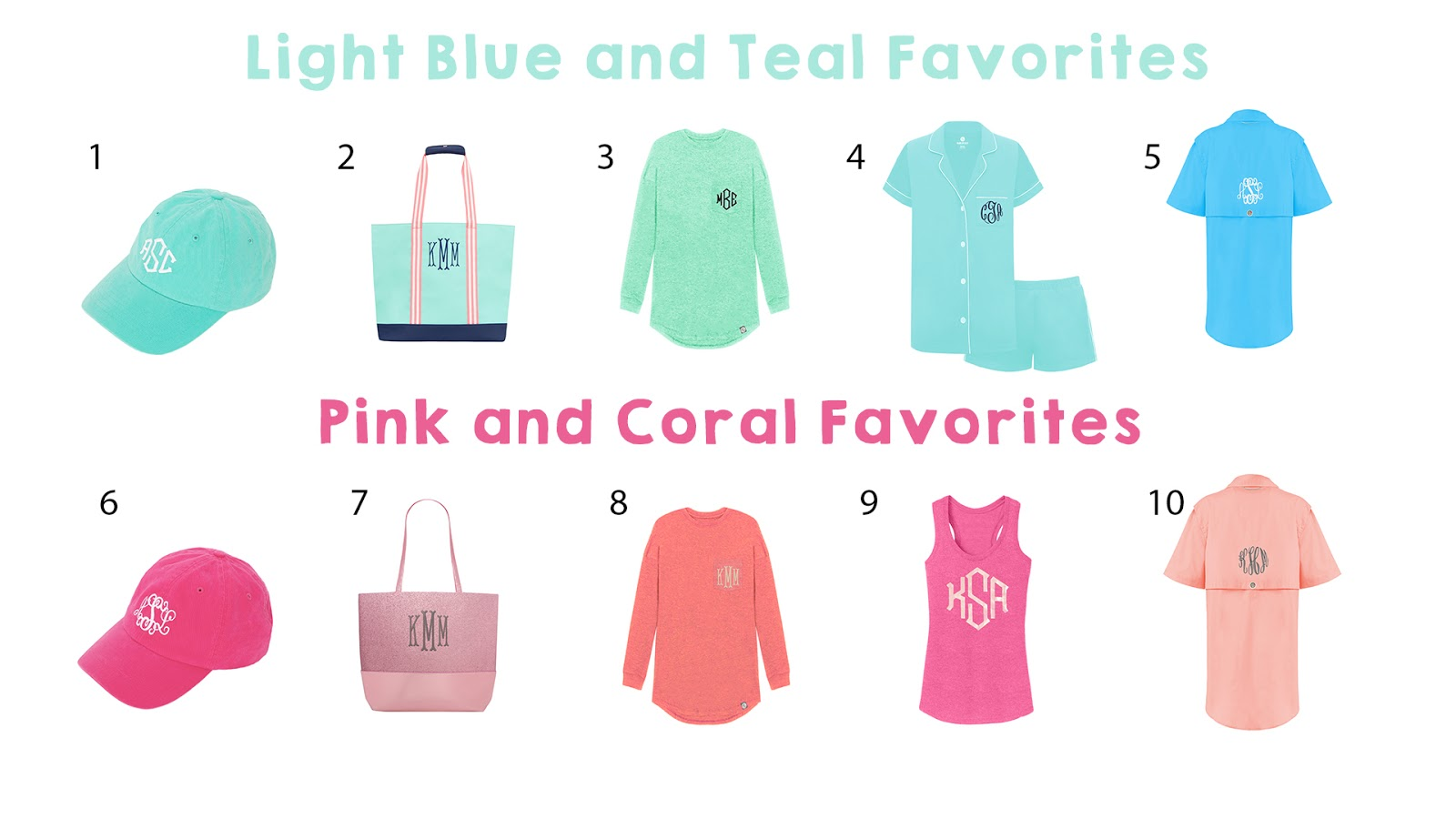 Our favorite spring colored monogram items