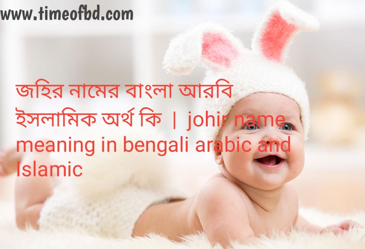 জহির নামের অর্থ কী, জহির নামের বাংলা অর্থ কি, জহির নামের ইসলামিক অর্থ কি, johir name meaning in bengali