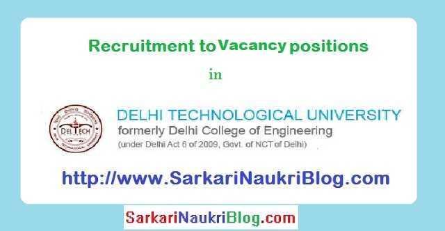 Sarkari-Naukri Vacancy DTU Delhi