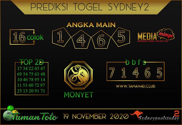 Prediksi Togel SYDNEY 2 TAMAN TOTO 19 NOVEMBER 2020