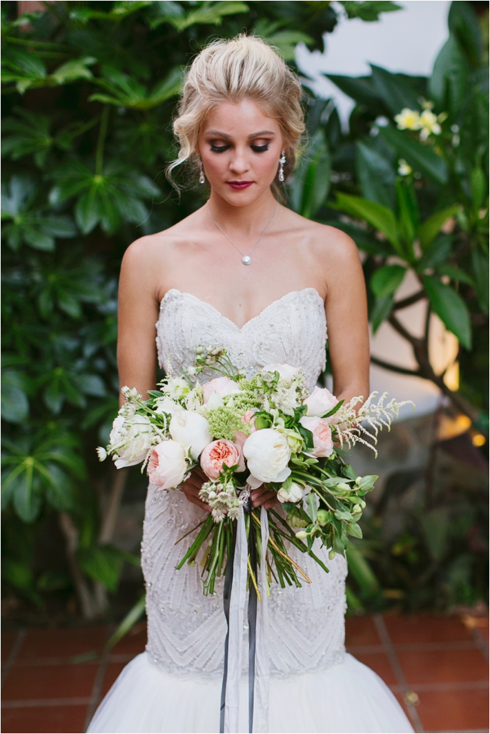 Peach and white bouquet | Rancho Las Lomas Wedding Inspiration by Damaris Mia Photography