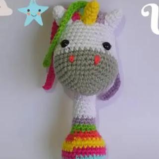Amigurumi Sonajero Unicornio a Crochet