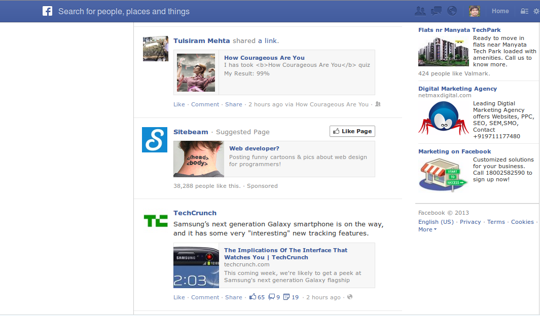 facebook newsfeed with Advertisements and pages suggestions