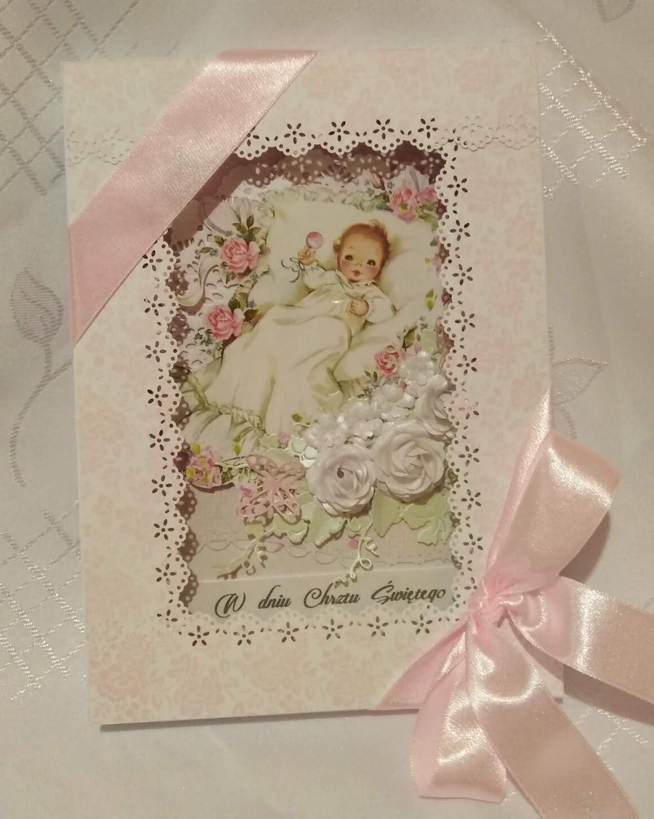 Chrzest Dziewczynki I ślub Rodziców Pudełko I Kartka Prezencik