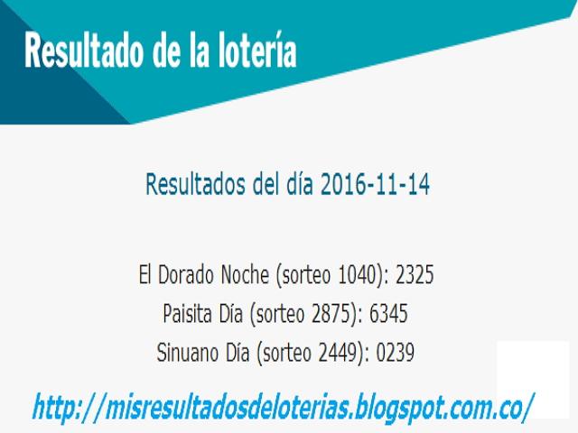 Resultados de las loterias de colombia hoy-noviembre-14-2016