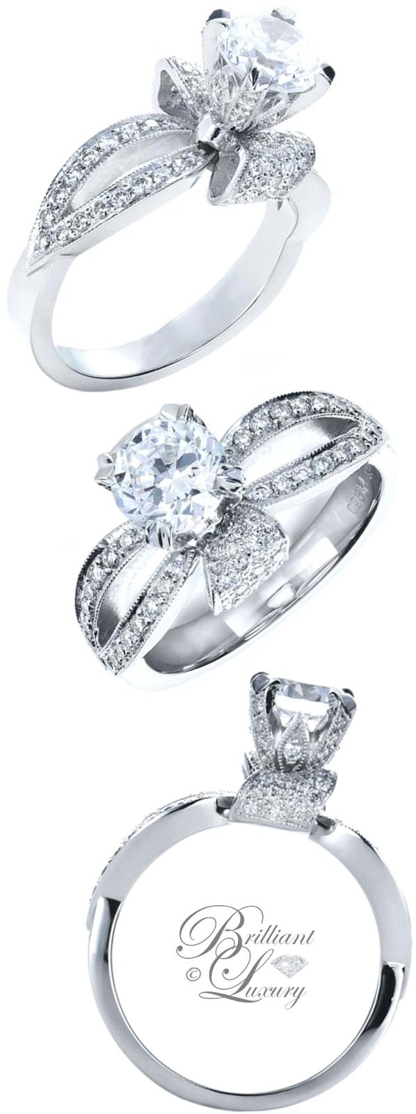 Brilliant Luxury ♦ Joseph Jewelry Diamond Pave Engagement Ring