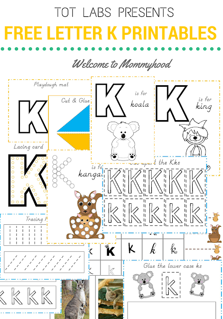 Tot Labs presents Letter of the Week: Letter Kk printables pack available for FREE by Welcome to Mommyhood, #preschoolactivities, #montessoriactivities, #montessori, #handsonlearning, #letteroftheweek, #lotw, #freeprintables