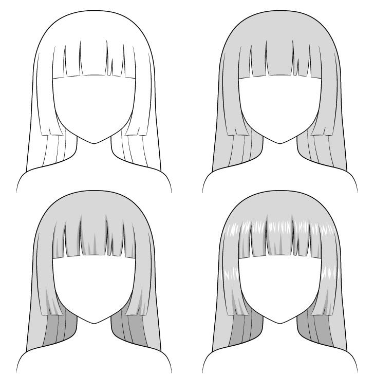 Shading anime hime memotong rambut selangkah demi selangkah