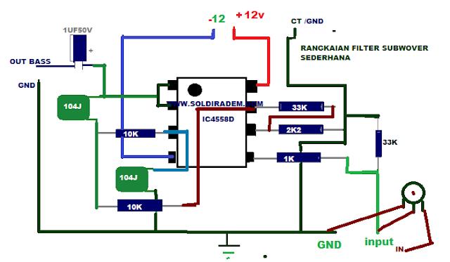 Skema Rangkaian filter Subwoofer Sederhana IC 4558D