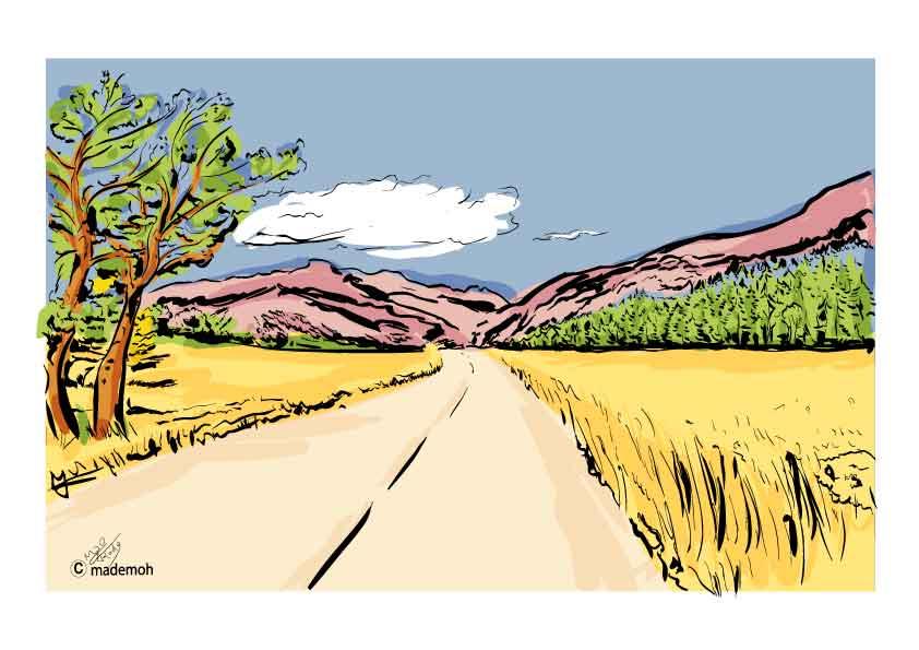 """Dessin De Route sur la route de modane"""" (alpes) dessin croquis paysage couleur"""