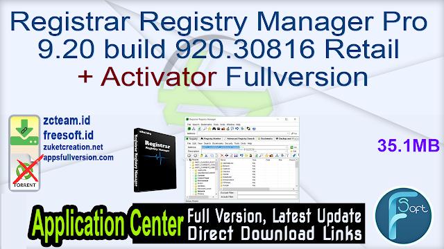 Registrar Registry Manager Pro 9.20 build 920.30816 Retail + Activator Fullversion