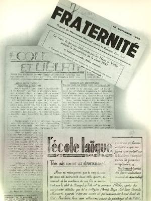 Publication du Syndicat National des Instituteurs clandestin, décembre 1943 (in L'Encyclopédie Générale de l'Education Française-Tome Premier)